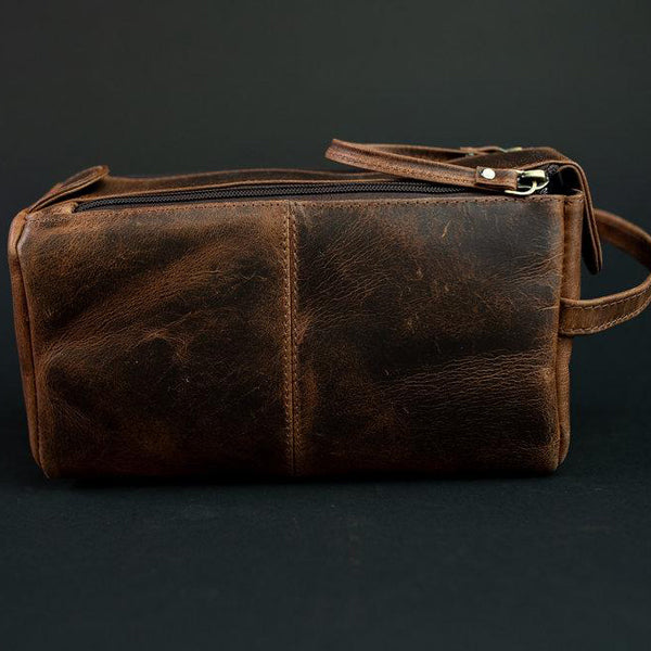The Toiletry Bag - Men's Top Grain Leather Dopp Kit for Travel