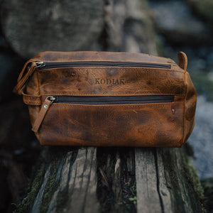 The Toiletry Bag - Men's Top Grain Leather Dopp Kit for Travel on Tree