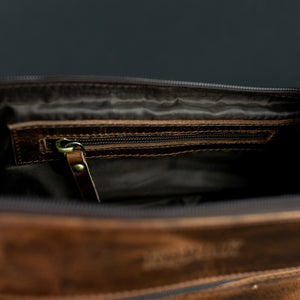 The Toiletry Bag - Men's Top Grain Leather Dopp Kit for Travel Inside