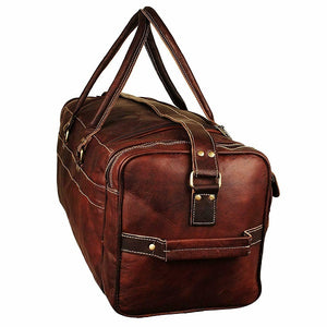 Leather Duffel Bag for Men - Full Grain Leather 24 Inch Duffle Bag Side