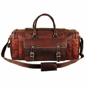 Leather Duffel Bag for Men - Full Grain Leather 24 Inch Duffle Bag Front