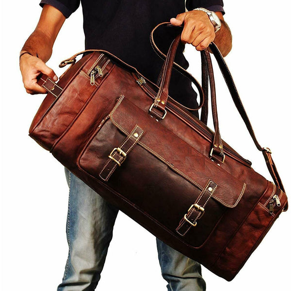 Leather Duffel Bag for Men - Full Grain Leather 24 Inch Duffle Bag Held End