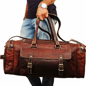 Leather Duffel Bag for Men - Full Grain Leather 24 Inch Duffle Bag Carried