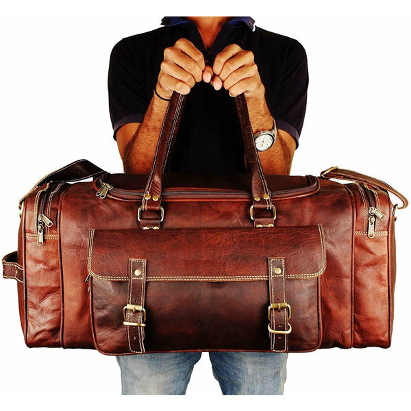 Leather Duffel Bag for Men - Full Grain Leather 24 Inch Duffle Bag Held Top