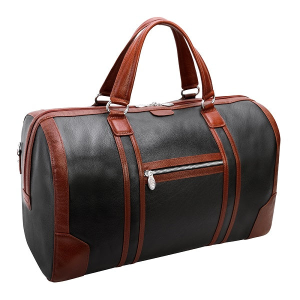 Men's Two Tone Leather Duffel Bag Black Back