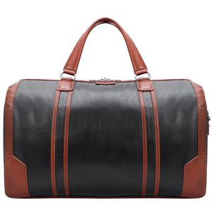 Men's Two Tone Leather Duffel Bag Black Front