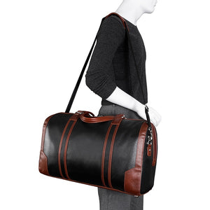Men's Two Tone Leather Duffel Bag Black Worn