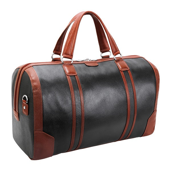 Men's Two Tone Leather Duffel Bag Black