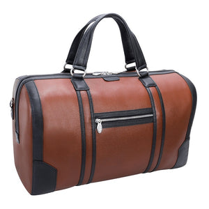 Men's Two Tone Leather Duffel Bag Brown Back