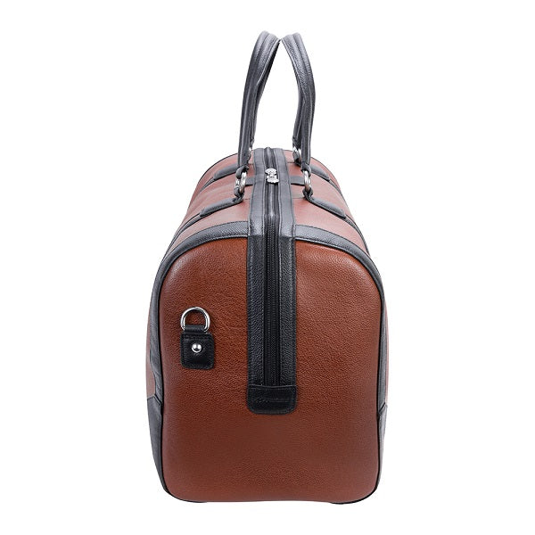 Men's Two Tone Leather Duffel Bag Brown End