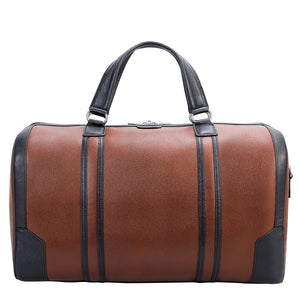 Men's Two Tone Leather Duffel Bag Brown Front