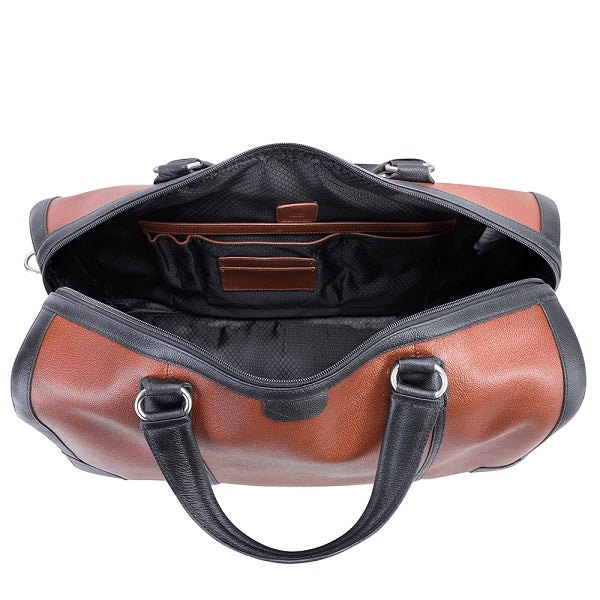 Men's Two Tone Leather Duffel Bag Brown Open
