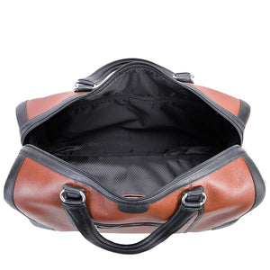 Men's Two Tone Leather Duffel Bag Brown Open Wide
