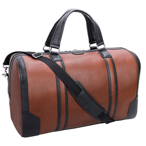 Men's Two Tone Leather Duffel Bag Brown Strap