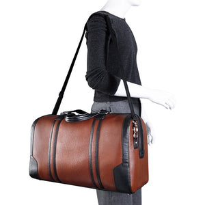 Men's Two Tone Leather Duffel Bag Brown Worn