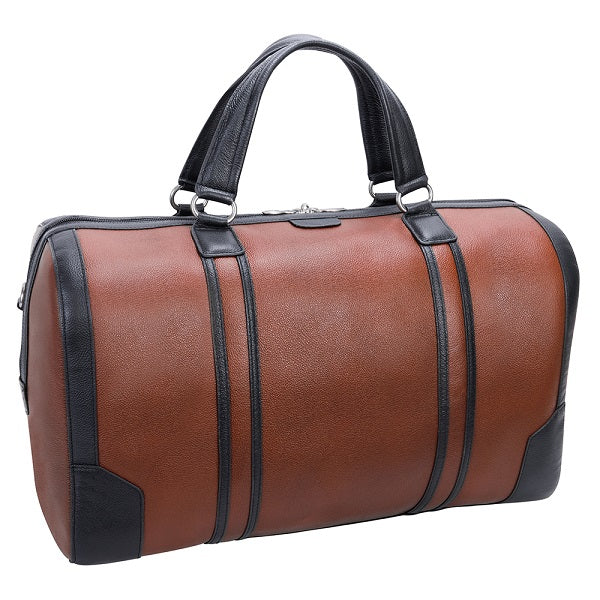Men's Two Tone Leather Duffel Bag Brown