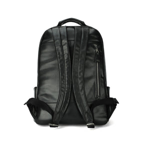 Leather 13 Inch Laptop Backpack for Men - Top Grain Cowhide Black Back