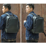 Leather 13 Inch Laptop Backpack for Men - Top Grain Cowhide Black Worn2