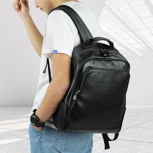 Leather 13 Inch Laptop Backpack for Men - Top Grain Cowhide Black Worn