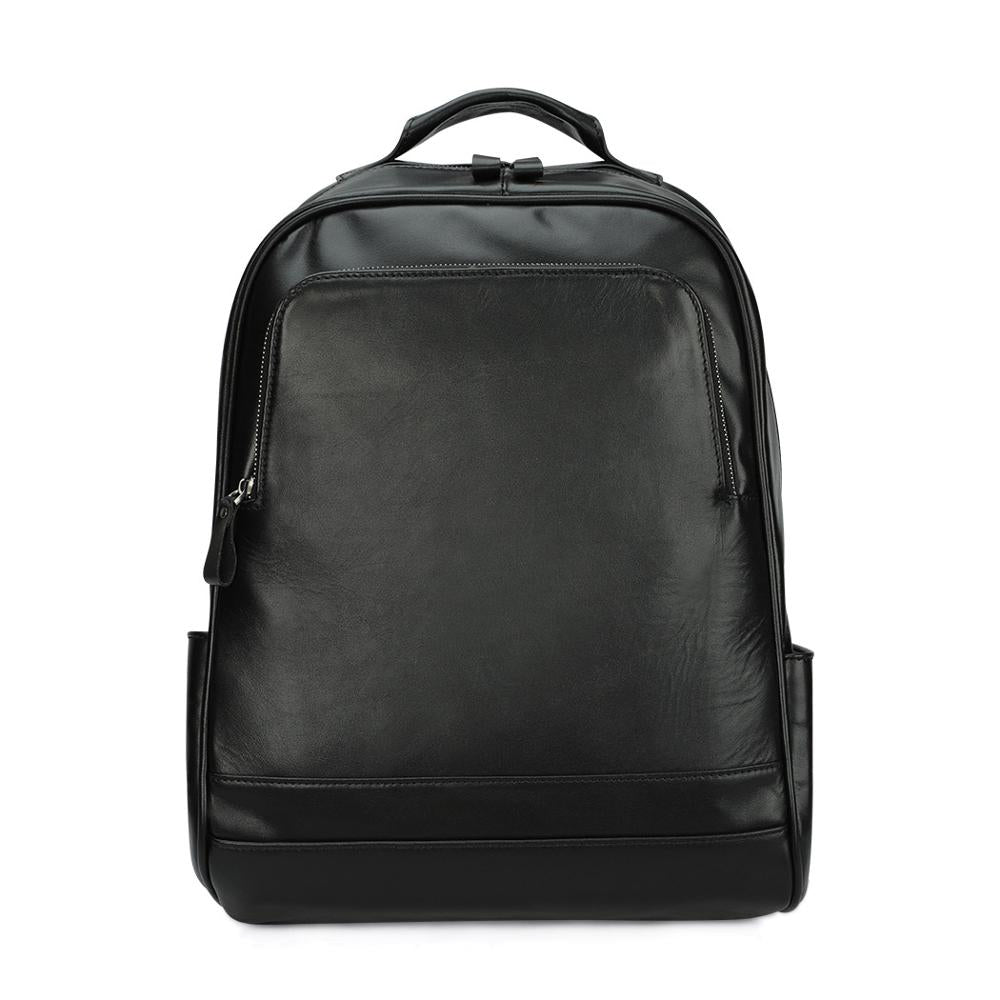 Leather 13 Inch Laptop Backpack for Men - Top Grain Cowhide Black