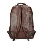 Leather 13 Inch Laptop Backpack for Men - Top Grain Cowhide Brown Back