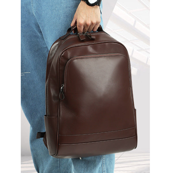 Leather 13 Inch Laptop Backpack for Men - Top Grain Cowhide Brown Worn3