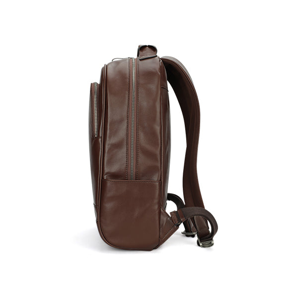 Leather 13 Inch Laptop Backpack for Men - Top Grain Cowhide Brown Side