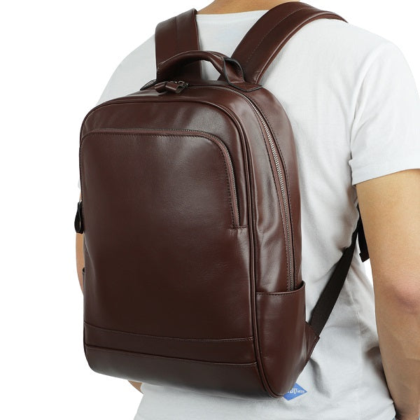 Leather 13 Inch Laptop Backpack for Men - Top Grain Cowhide Brown Worn