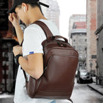 Leather 13 Inch Laptop Backpack for Men - Top Grain Cowhide Brown Worn 2