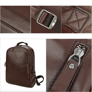 Leather 13 Inch Laptop Backpack for Men - Top Grain Cowhide Brown Zoomed