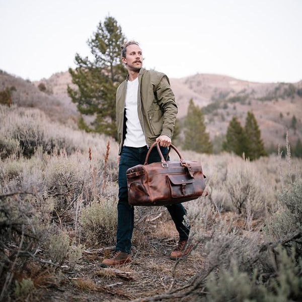 Men's Buffalo Leather Duffel Bag - Weekend Bag for Travel  Styled