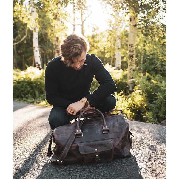 Men's Buffalo Leather Duffel Bag - Weekend Bag for Travel Dark Brown