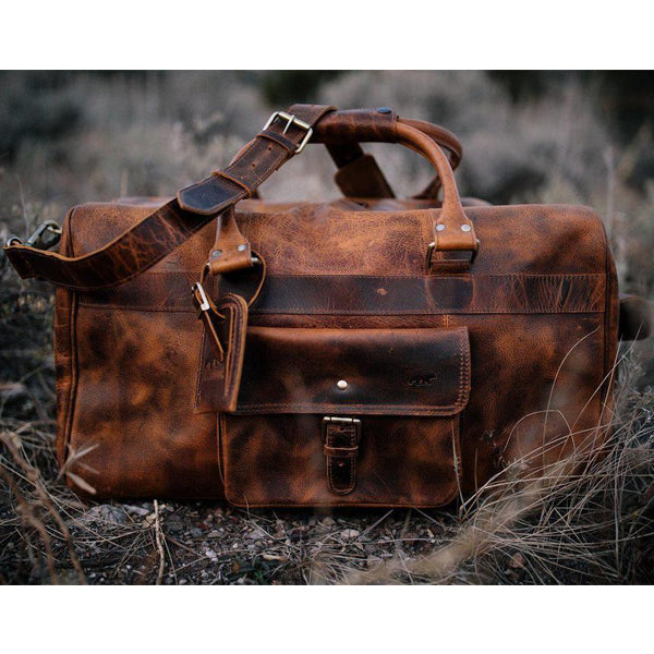 Men's Buffalo Leather Duffel Bag - Weekend Bag for Travel on ground