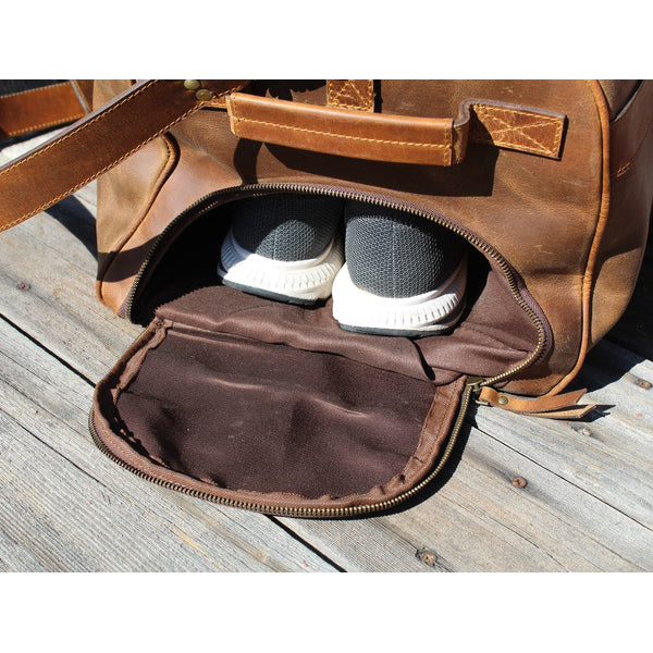 Men's Buffalo Leather Duffel Bag - Weekend Bag for Travel shoe compartment