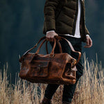 Men's Buffalo Leather Duffel Bag - Weekend Bag for Travel  Held2
