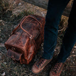 Men's Buffalo Leather Duffel Bag - Weekend Bag for Travel  top view 2