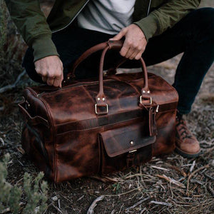 Men's Buffalo Leather Duffel Bag - Weekend Bag for Travel top view