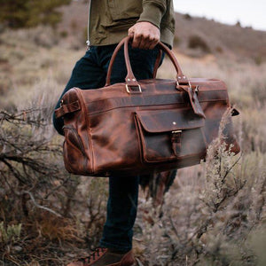 Men's Buffalo Leather Duffel Bag - Weekend Bag for Travel  Held