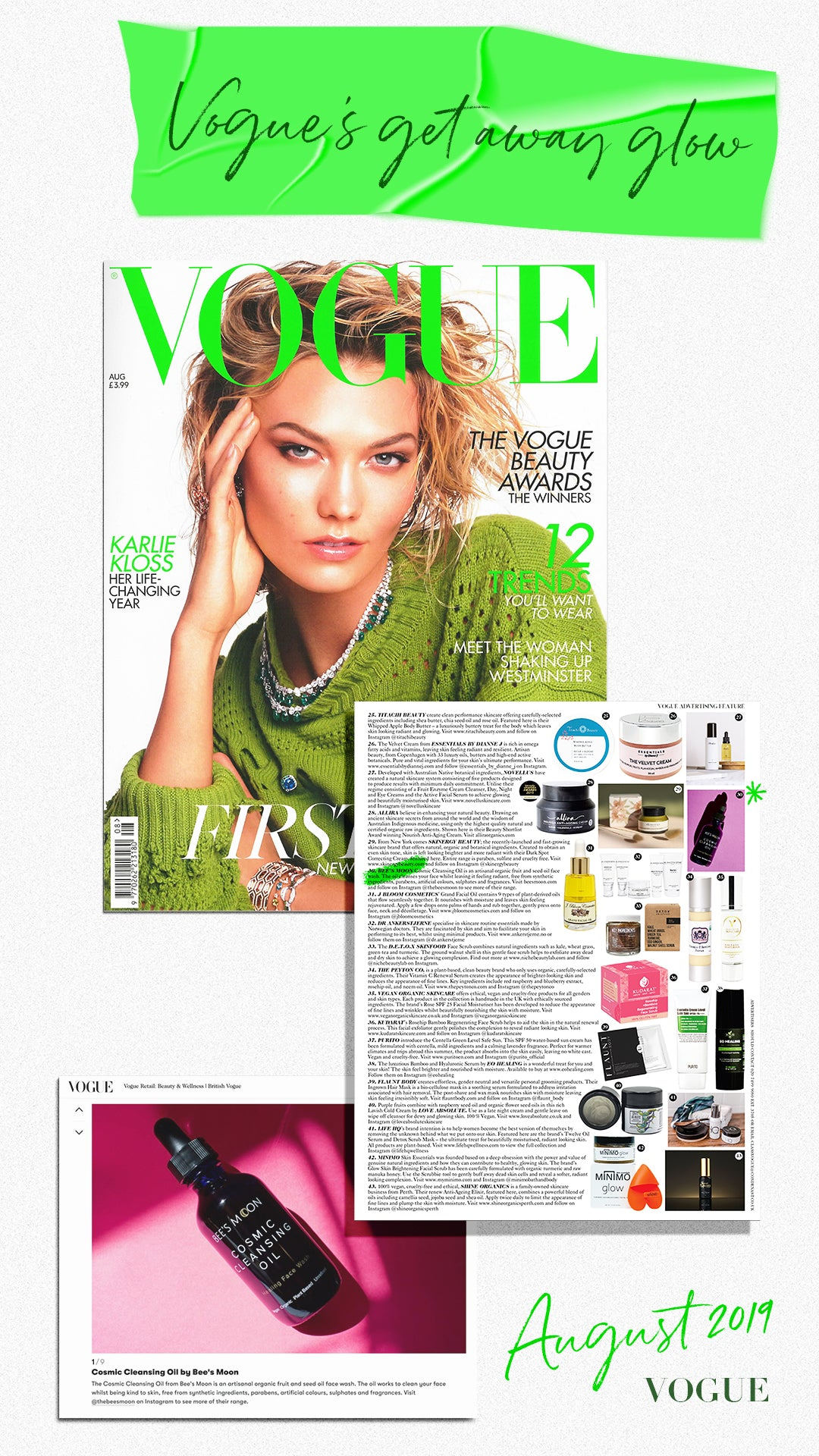 VOGUE and Bee's Moon August 2019 Issue with Karli Kloss