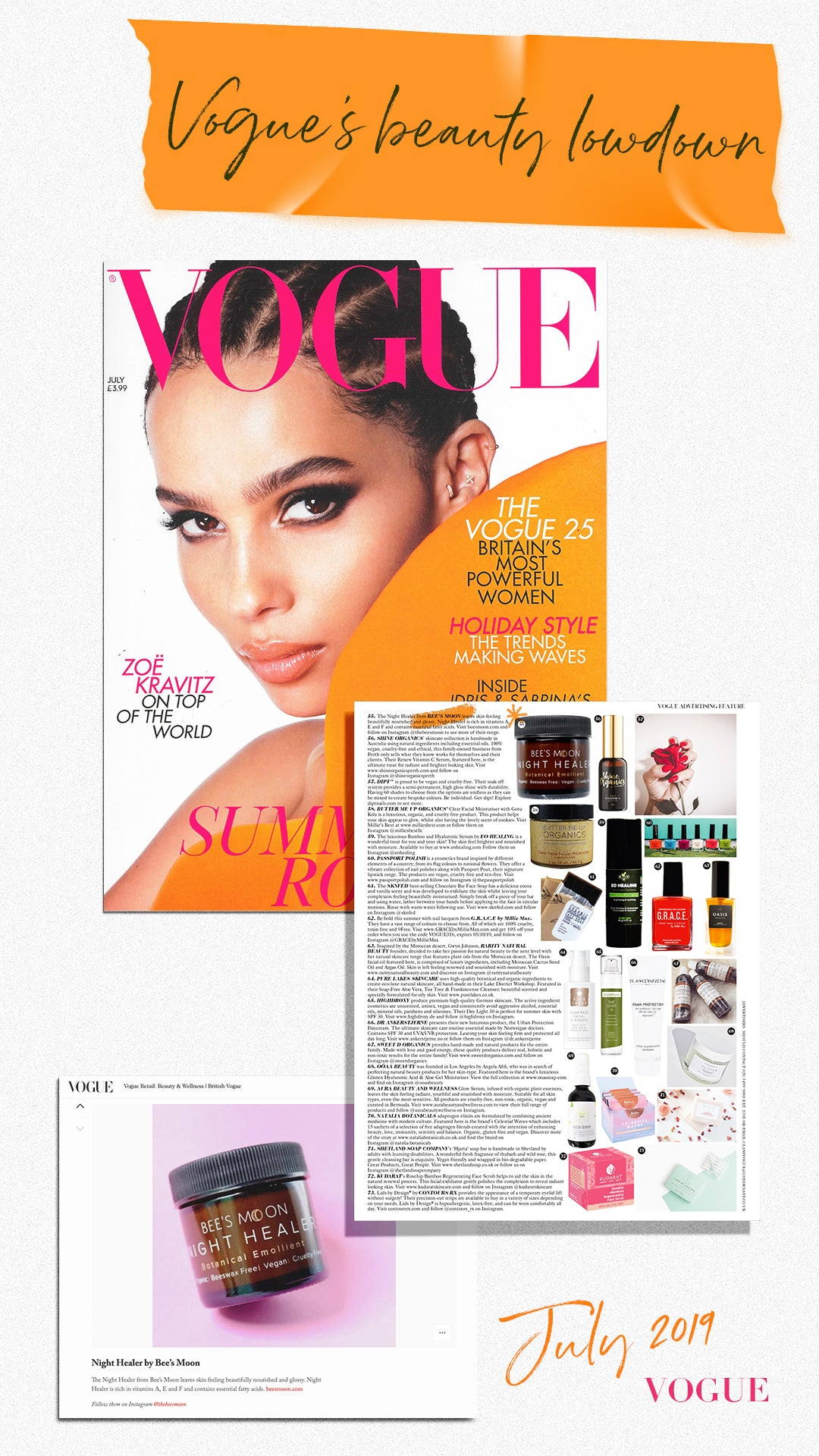 VOGUE and Bee's Moon July 2019 Issue with Zoe Kravitz