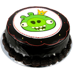 Angry Birds Green Pig cake - Ganache