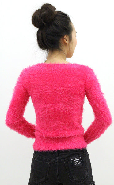 Flirt,Big Flirt Hot Pink Boucle Sweater