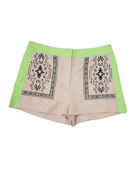 Embroidered and Neon Linen Shorts