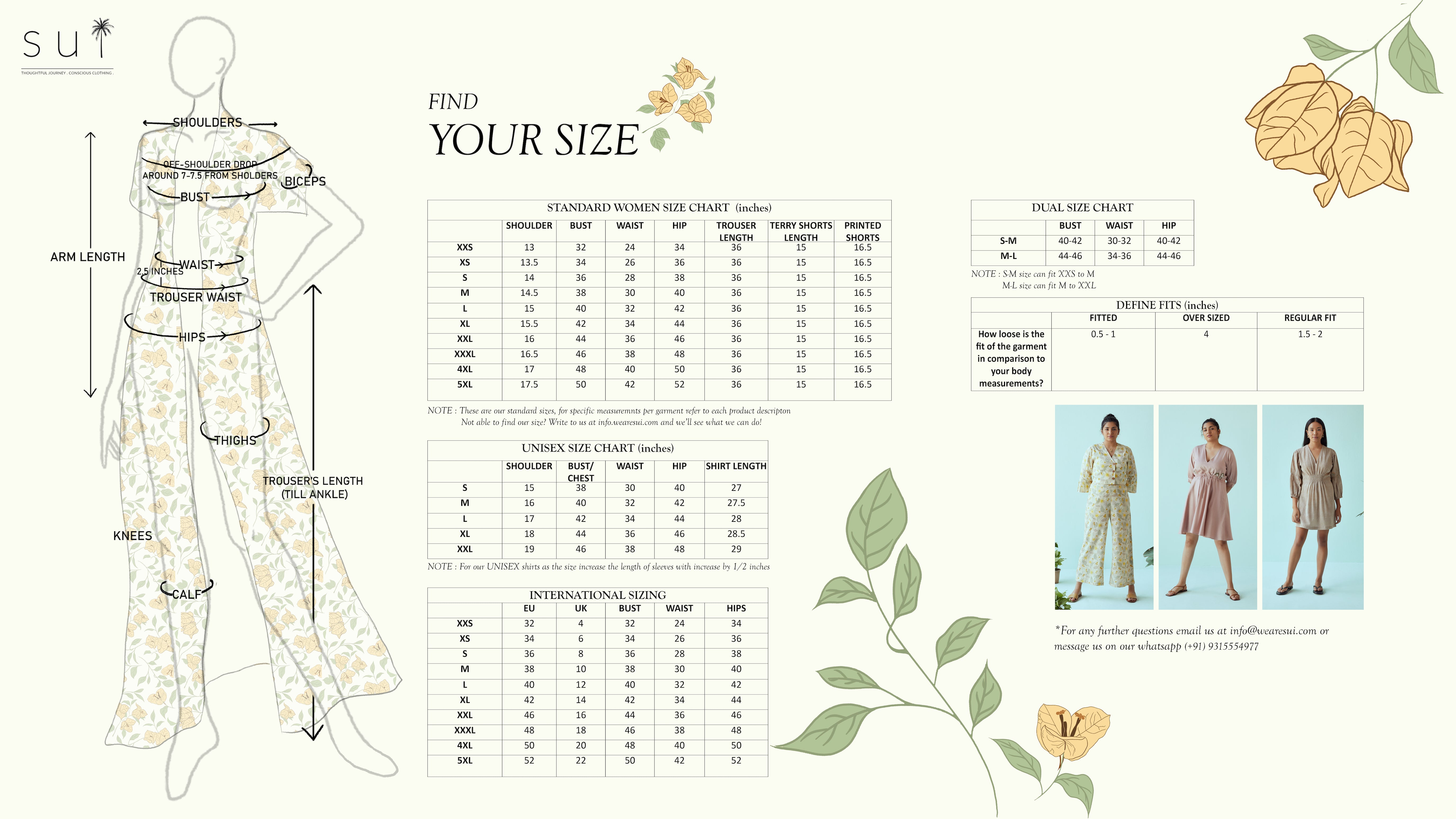 Sui Sustainable clothing womenswear size chart