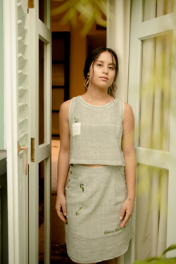 Sui | BE-LEAF ME embroidered handwoven organic cotton casual skirt from Basic-ally Sui 2.0 Collection 2019