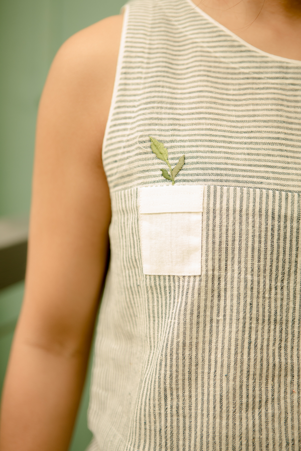 Sui | BE-LEAF ME embroidered organic cotton khadi classic sleeveless crop top from Basic-ally Sui 2.0 Collection 2019