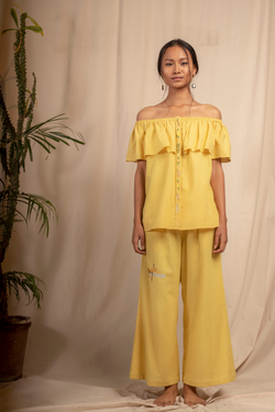 Sui | DAL PORTO embroidered, herbal-dyed handwoven organic cotton casual trousers from Granita Summer Collection 2019