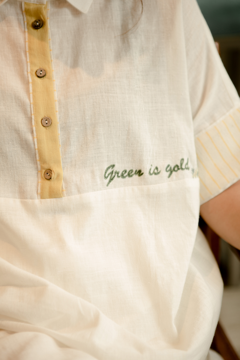 Sui | GREEN IS GOLD embroidered handwoven organic cotton classic top from Basic-ally Sui 2.0 Collection 2019