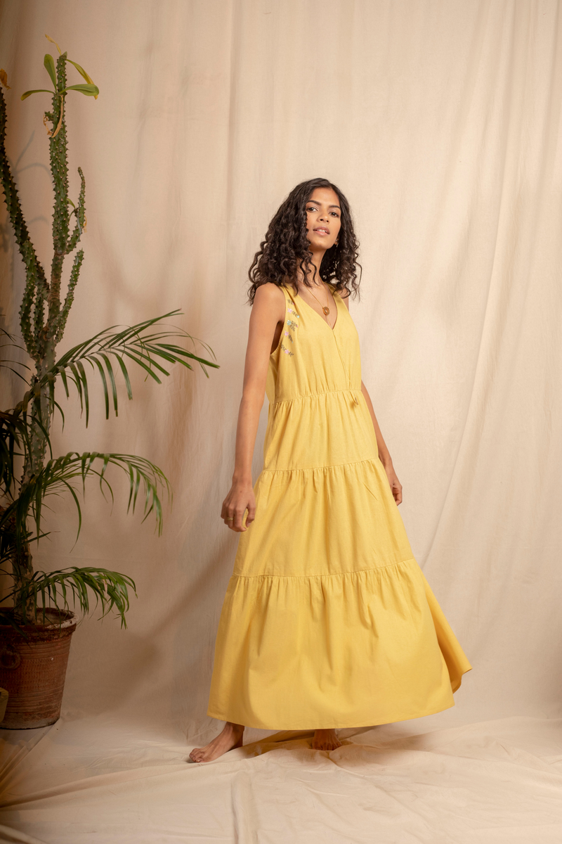 Sui | IL SOLE embroidered, herbal-dyed recycled fabric maxi dress from Granita Summer Collection 2019