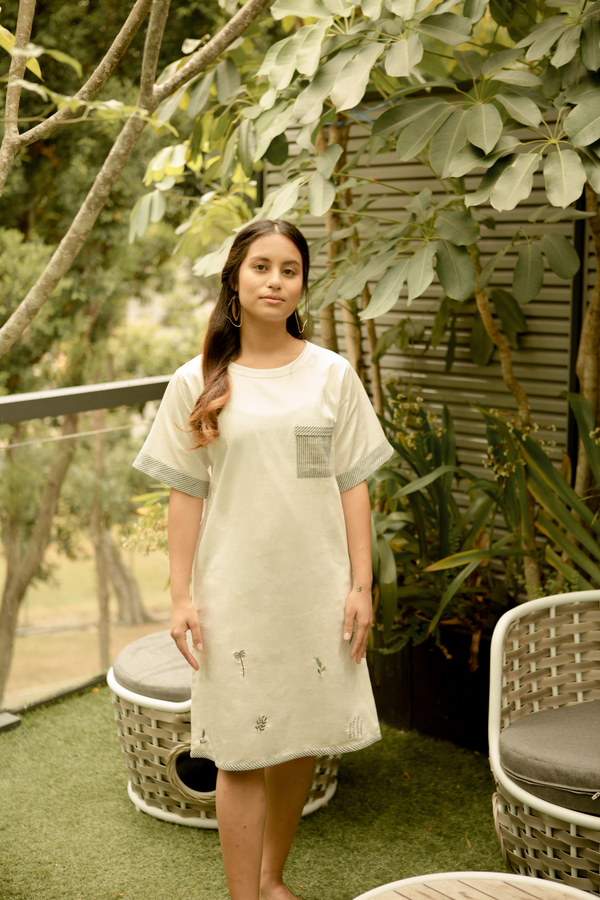 Sui | JUST LEAF embroidered organic cotton khadi dress from Basic-ally Sui 2.0 Collection 2019